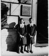 The author (R) and his brother David about to walk to school in Rome, 1956.