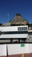 The old (Fairmont Hotel) looks over the (Ferry Terminal) from the ramparts of Old Quebec City