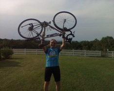 Victory pose after the Climate Ride